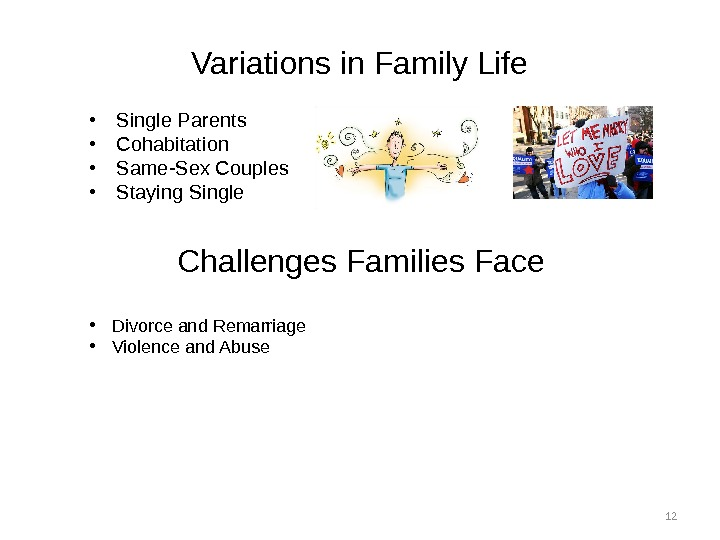 12 Variations in Family Life • Single Parents • Cohabitation • Same-Sex Couples • Staying Single