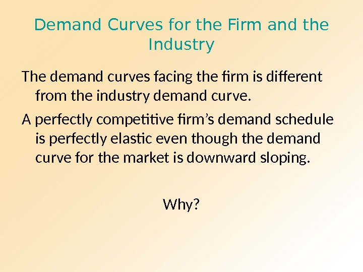 Demand Curves for the Firm and the Industry The demand curves facing the firm is different