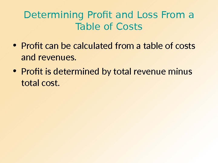Determining Profit and Loss From a Table of Costs • Profit can be calculated from a