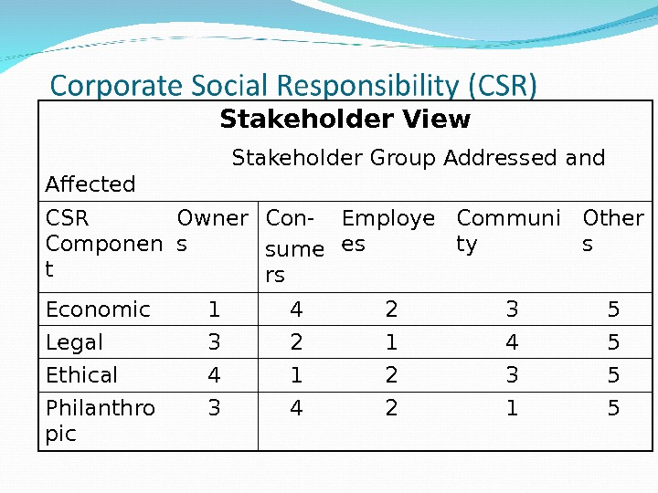 Stakeholder View     Stakeholder Group Addressed and Affected CSR Componen t Owner s