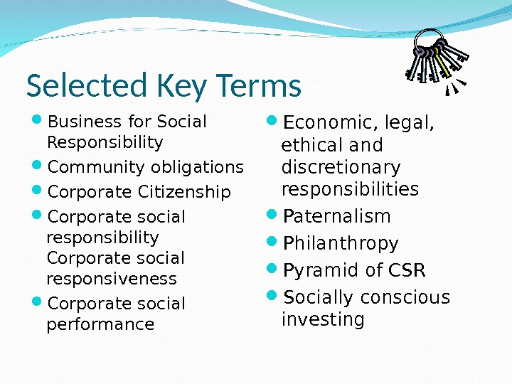Selected Key Terms Business for Social Responsibility Community obligations Corporate Citizenship Corporate social responsibility Corporate social