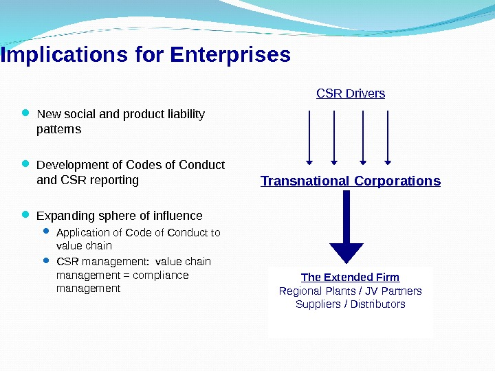 Implications for Enterprises The Extended Firm Regional Plants / JV Partners Suppliers / Distributors New