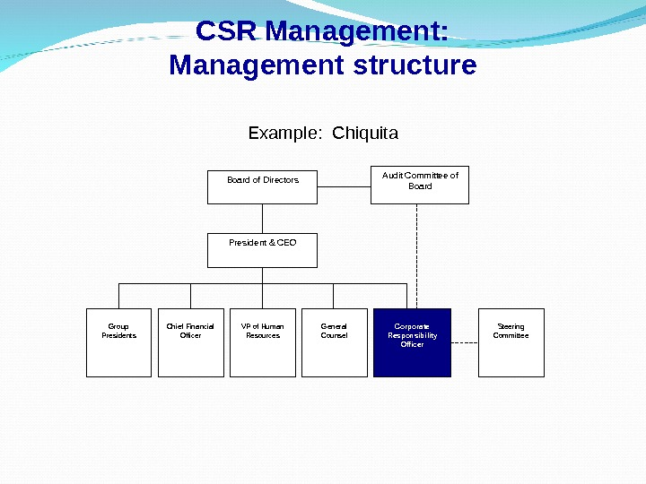 CSR Management: Management structure Example:  Chiquita Board of Directors President & CEO Group Presidents Chief