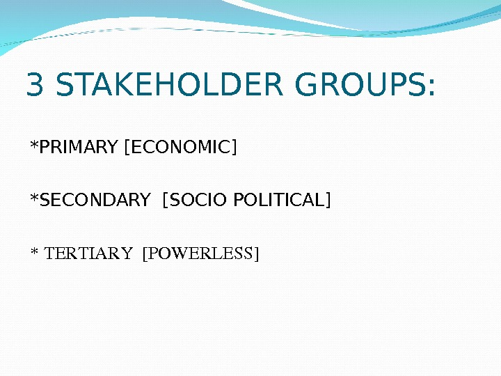 3 STAKEHOLDER GROUPS: *PRIMARY [ECONOMIC] *SECONDARY [SOCIO POLITICAL] *TERTIARY[POWERLESS]