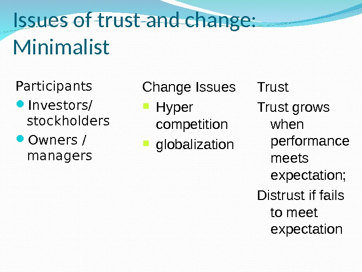 Issues of trust and change:  Minimalist Participants Investors/ stockholders Owners / managers Change Issues Hyper