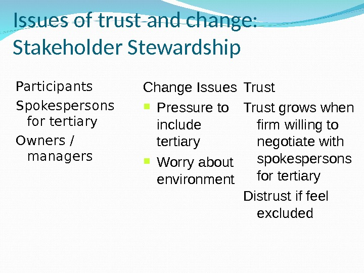 Issues of trust and change:  Stakeholder Stewardship Participants Spokespersons for tertiary Owners / managers Change