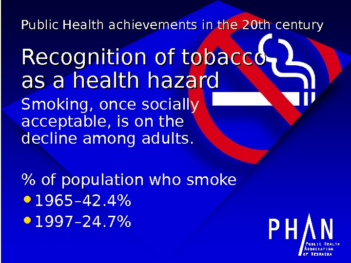 Public Health achievements in the 20 th century Recognition of tobacco as a health hazard Smoking,