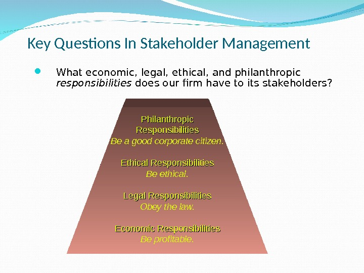 Key Questions In Stakeholder Management What economic, legal, ethical, and philanthropic responsibilities does our firm have