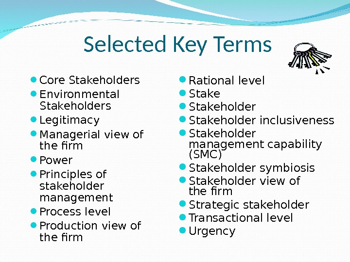 Core Stakeholders Environmental Stakeholders Legitimacy Managerial view of the firm Power Principles of stakeholder management