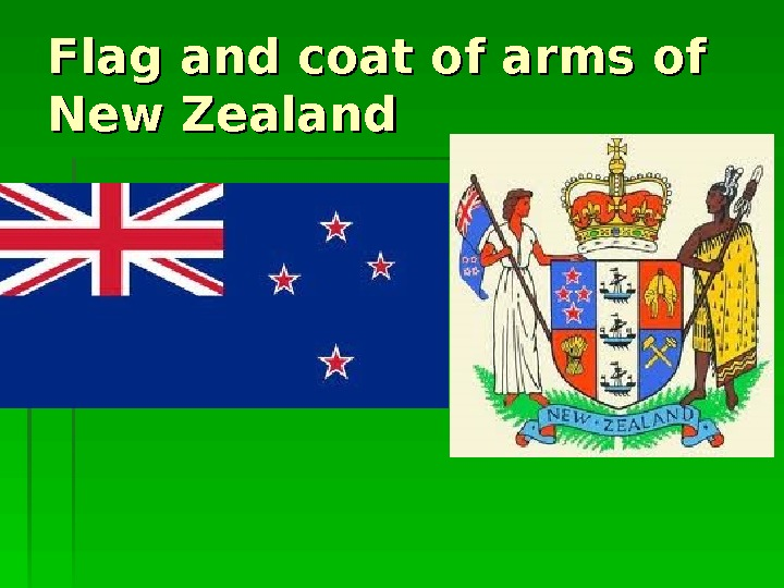 Flag and coat of arms of New Zealand