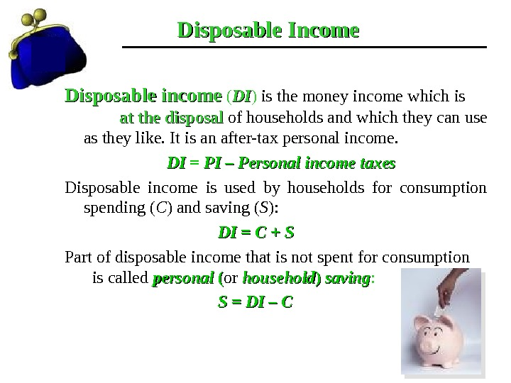 Disposable Income Disposable income ( DIDI ) is the money income which is