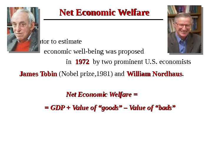 Net Economic Welfare This indicator to estimate       economic well-being was