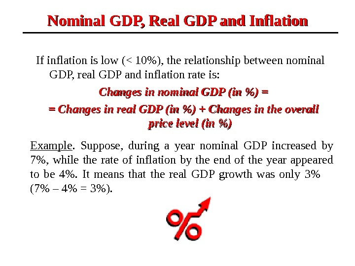If inflation is low ( 10), the relationship between nominal GDP, real GDP and inflation rate