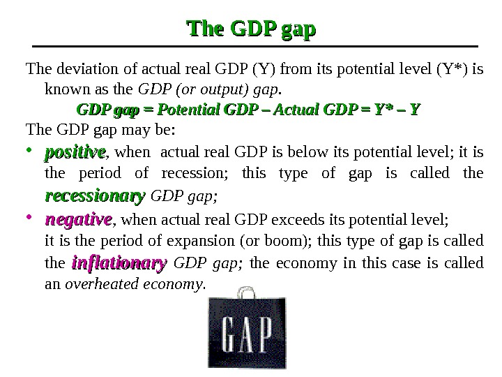 The GDP gap The deviation of actual real GDP (Y) from its potential level (Y*) is