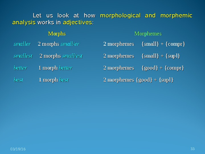 Let us look at how morphological and morphemic analysis works in adjectives : : 03/19/16 33