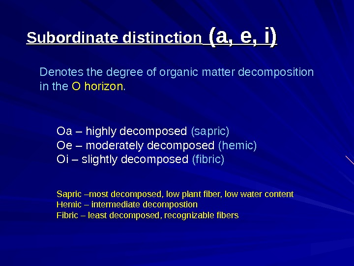 Subordinate distinction (a, e, i) Denotes the degree of organic matter decomposition in the