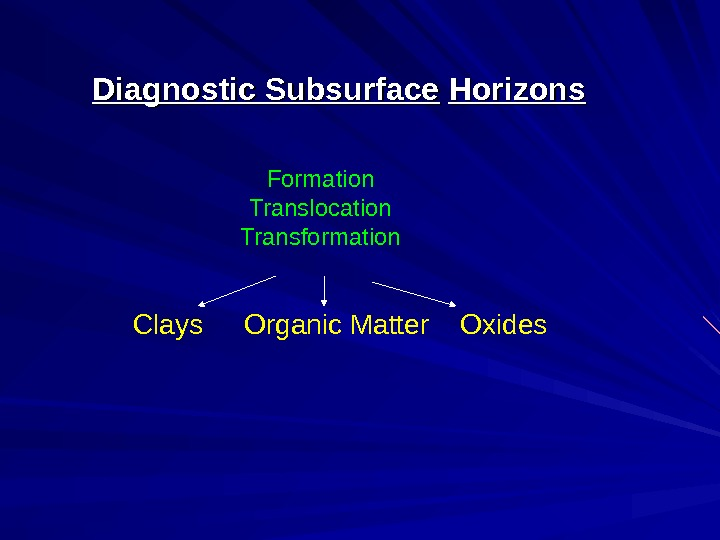 Diagnostic Subsurface  Horizons Clays Organic Matter  Oxides Formation Translocation Transformation