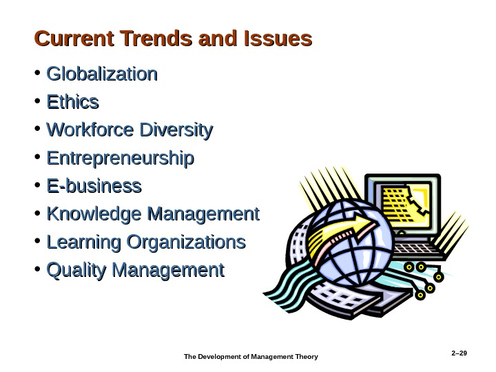 2– 29 Current Trends and Issues • Globalization • Ethics • Workforce Diversity • Entrepreneurship •