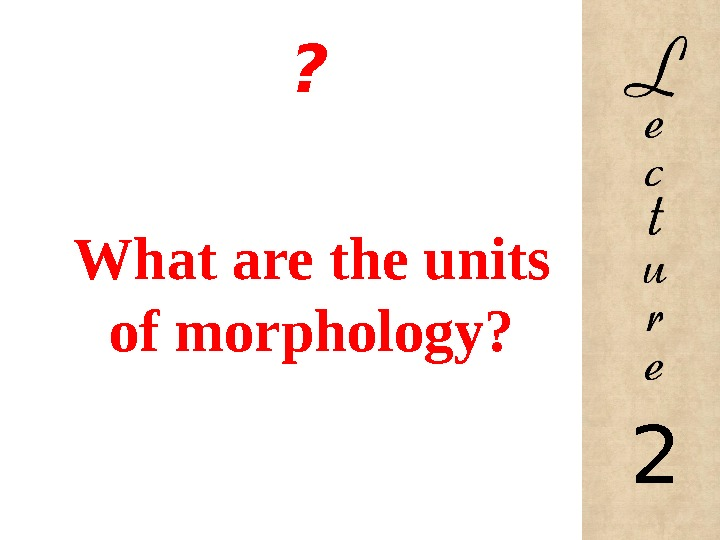 ? What are the units of morphology? 2