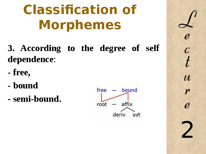 Classification of Morphemes 3.  According to the degree of self dependence : - free,