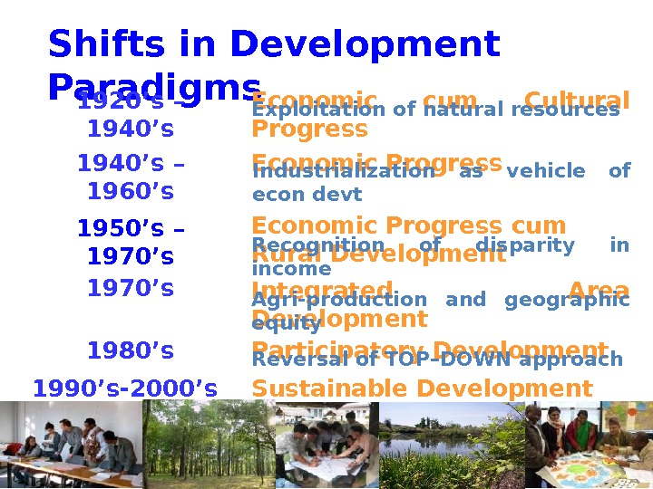 Shifts in Development Paradigms Economic cum Cultural Progress 1920's – 1940's Economic Progress 1940's – 1960's