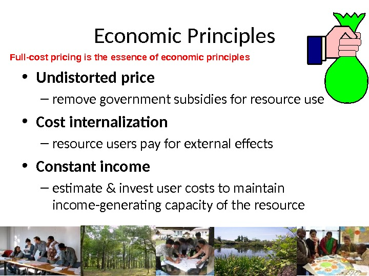 Economic Principles • Undistorted price – remove government subsidies for resource use • Cost internalization –