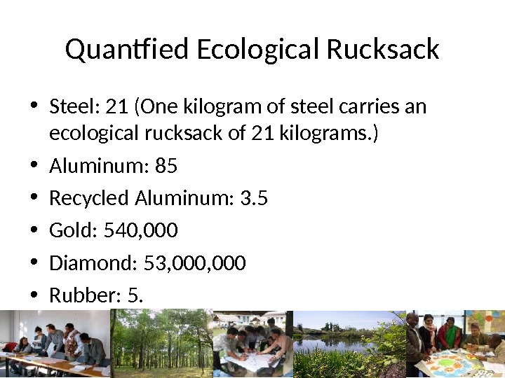 Quantfied Ecological Rucksack • Steel: 21 (One kilogram of steel carries an ecological rucksack of 21