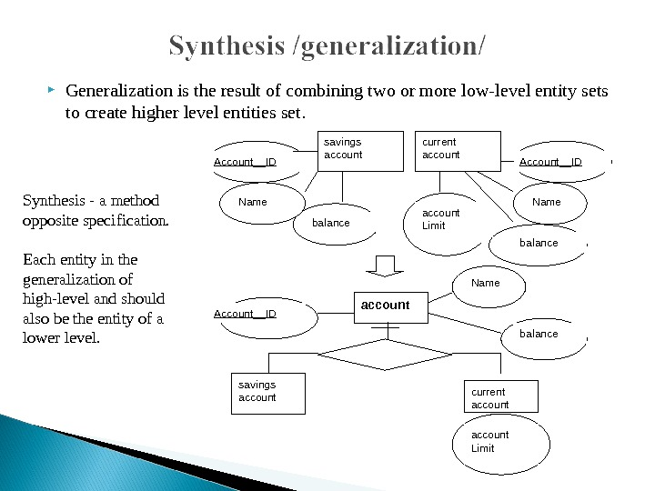 Generalization is the result of combining two or more low-level entity sets to create higher