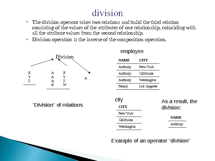 The division operator takes two relations and build the third relation consisting of the values