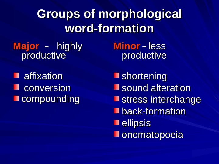 Groups of morphological word-formation Major −− highly productive  affixation  conversion  compounding