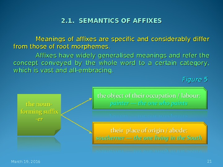 2. 1.  SEMANTICS OF AFFIXES Meanings of affixes are specific and considerably differ from those