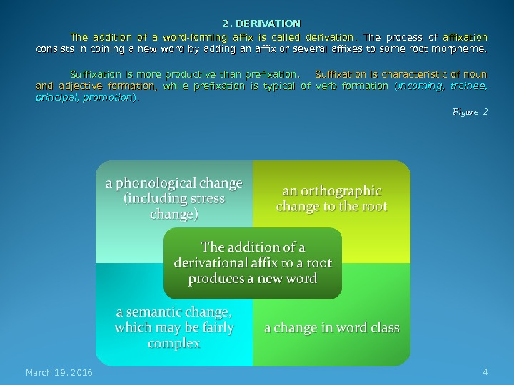 2. DERIVATION The addition of a word-forming affix is called derivation.  The process of affixation