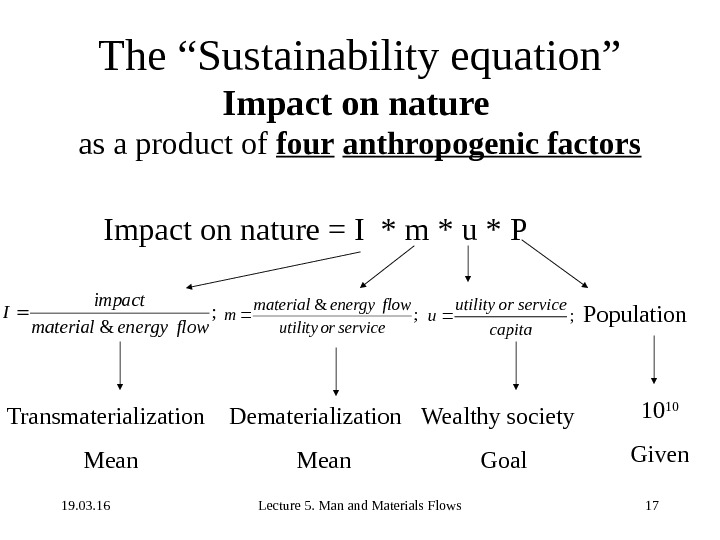 "19. 03. 16 Lecture 5. Man and Materials Flows 17 The ""Sustainability equation"" Impact on nature"