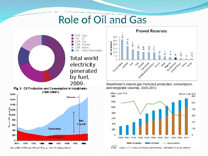Role of Oil and Gas Total world electricity generated by fuel,  2009.