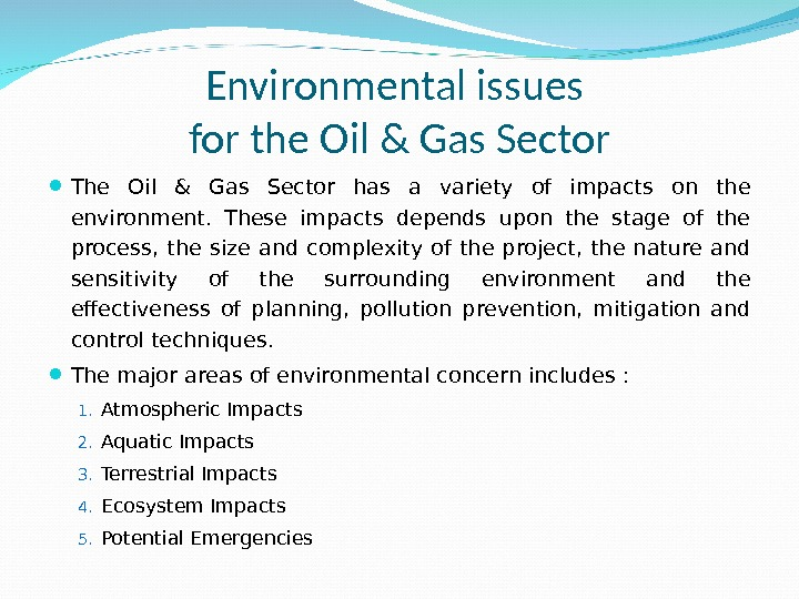 Environmental issues for the Oil & Gas Sector The Oil & Gas Sector has a variety