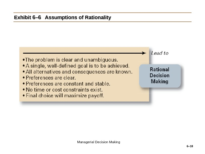 6– 18 Exhibit 6– 6 Assumptions of Rationality Managerial Decision Making