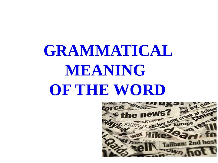 GRAMMATICAL MEANING OF THE WORD