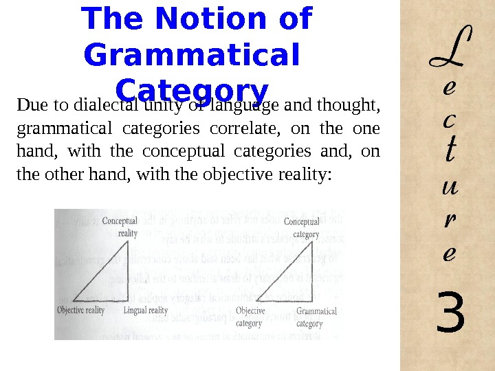 The Notion of Grammatical Category Due to dialectal unity of language and thought,  grammatical