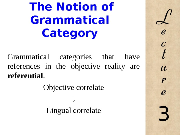 The Notion of Grammatical Category Grammatical categories that have references in the objective reality are