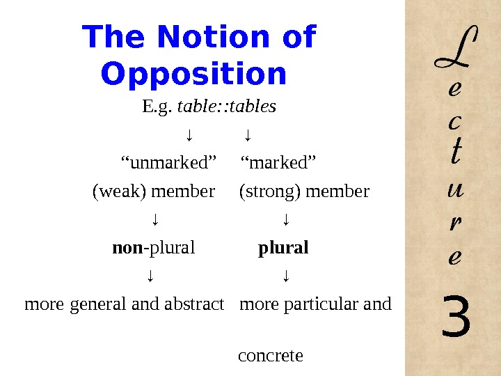 The Notion of Opposition E. g.  table: : tables ↓
