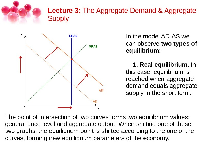 Lecture 3: The. Aggregate. Demand&Aggregate Supply Inthemodel. AD-ASwe canobserve two types of equilibrium :  1.