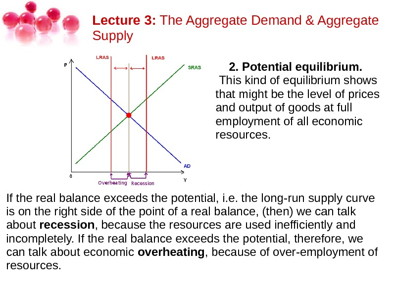 Lecture 3: The. Aggregate. Demand&Aggregate Supply 2. Potential equilibrium. Thiskindofequilibriumshows thatmightbethelevelofprices andoutputofgoodsatfull employmentofalleconomic resources.  Iftherealbalanceexceedsthepotential,