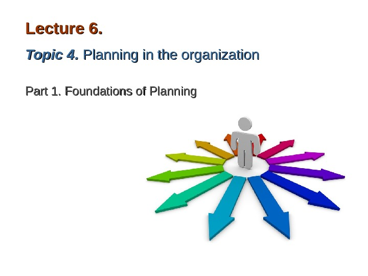 Lecture 6. . Topic 44. . Planning in the organization Part 1. Foundations of Planning