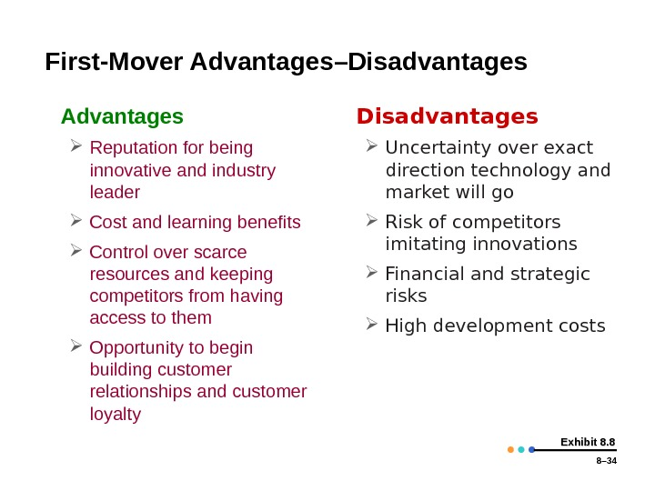 8– 34 Exhibit 8. 8 First-Mover Advantages – Disadvantages • Advantages Reputation for being innovative and