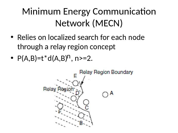 Minimum Energy Communication Network (MECN) • Relies on localized search for each node through a relay