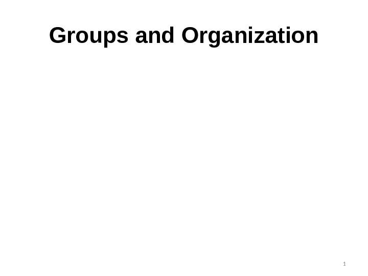 Groups and Organization 1