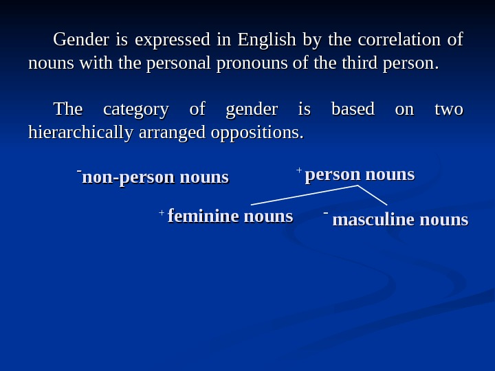 Gender is expressed in English by the correlation of nouns with the personal pronouns of the