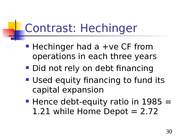 30 Contrast: Hechinger had a +ve CF from operations in each three years Did not