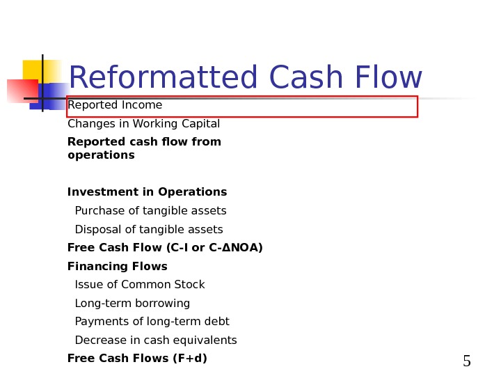 5 Reformatted Cash Flow Reported Income Changes in Working Capital Reported cash flow from operations