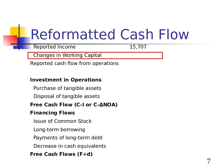 7 Reformatted Cash Flow  Reported Income 15, 707  Changes in Working Capital Reported